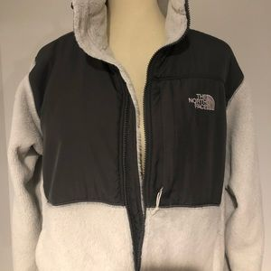 White Furry North Face ZIP Up
